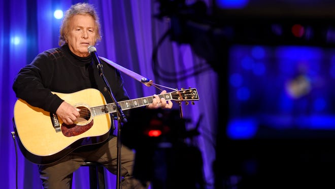 "Don McLean performs during the pre-taping for ""Dolly Parton's Smoky Mountains Rise: A Benefit for the My People Fund"" Tuesday, Dec. 13, 2016, in Nashville, Tenn."