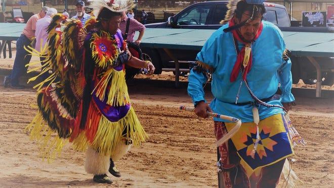 Mescalero Apache War Dancers attracted crowds at the Cowboy Symposium last weekend.