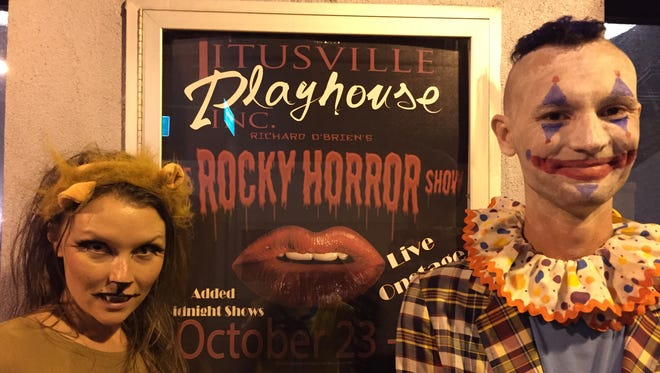 """Liz and Joseph Lark-Riley attended Titusville Playhouse's production of """"Rocky Horror Picture Show"""" on Halloween."""