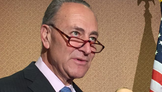 Sen. Chuck Schumer, D-N.Y., at a May 17 news conference held at the U.S. Capitol Visitors Center.