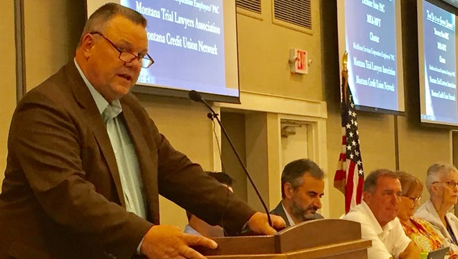 Sen. Jon Tester speaks to fellow Democrats on Friday at their state convention.