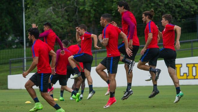 The U.S. men's national soccer team trains at Lipscomb University on Monday, June 26, 2017.