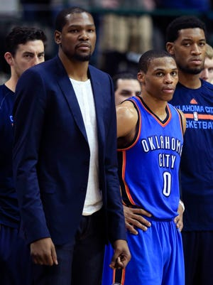 Thunder forward Kevin Durant and guard Russell Westbrook seem to time their injuries in the worst way.