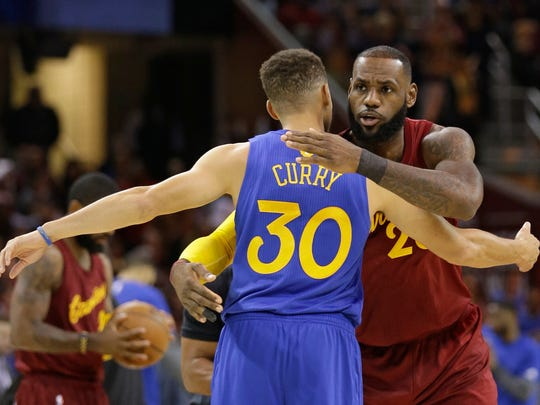 Cavaliers' LeBron James and Warriors' Stephen Curry will meet in the NBA Finals for a third straight time.