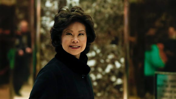 Former Labor secretary Elaine Chao arrives at Trump Tower on Nov. 21, 2016, in New York.