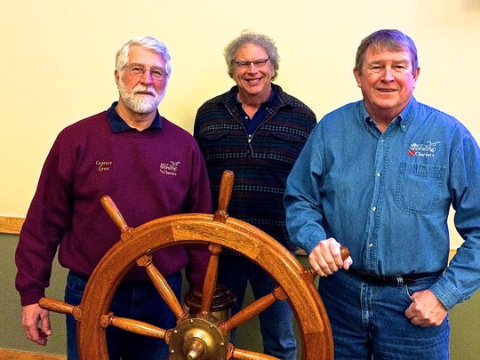 Pictured from left to right are Captains Lynn Brunsen, Geoff Cronk and Jim Robinson, who attended the Great Lakes Captains Conference in Traverse City, Mich.