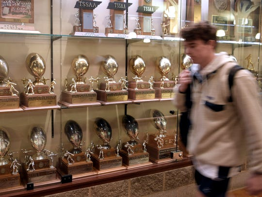 Many state championship trophies are on display in