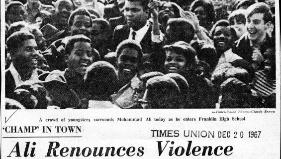 A 1967 copy of the Rochester Times Union reports on a visit of Muhammad Ali.