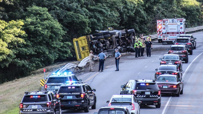 OXFORD - A dump truck rolled over on the northbound lanes of Interstate 395 on Thursday morning, backing up traffic.