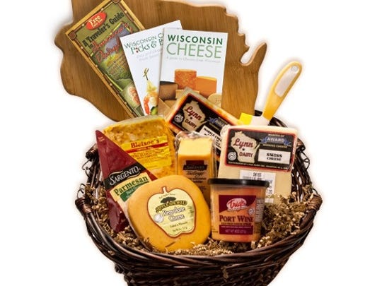 "The ""Say Cheese!"" Gift Basket features seven varieties of high quality cheeses from America's Dairyland plus a cheese knife, Wisconsin-shaped cutting board, A Traveler's Guide to America's Dairyland and more."