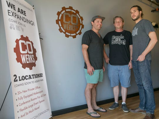 (Left to right) Bret Morgan, Danny Croak and Gregory Edgerton are partners in Cowerks, an office in Asbury Park where tech workers can set up shop for a day.
