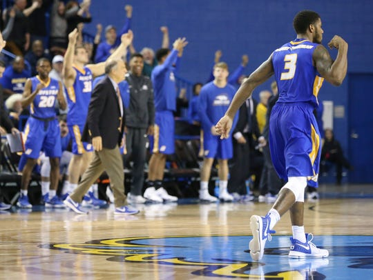 Hofstra's Justin Wright-Foreman celebrates his last minute 3-pointer that secured the game for the Pride with about 12 seconds remaining in Delaware's 64-59 loss at the Bob Carpenter Center last season.