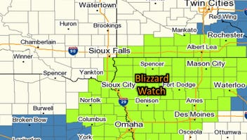 Blizzard watch for area in green.