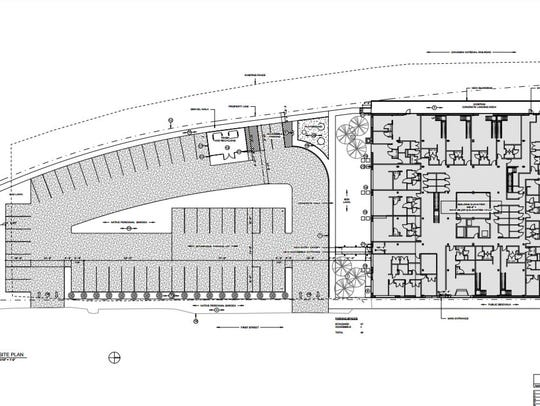Plans for the site of the new Atrium Lofts on First