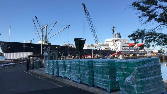 A training ship at SUNY Maritime in the Bronx was loaded Saturday with supplies to be sent to Houston in the aftermath of Hurricane Harvey