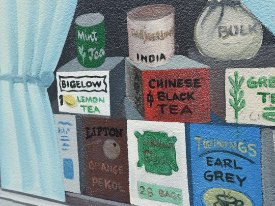 """A view of Franc Palaia's mural in the City of Poughkeepsie called """"Olde Main Street Mural."""""""