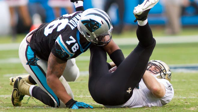 DE Greg Hardy's ability to frustrate Drew Brees is a major reason the Panthers are franchising him.