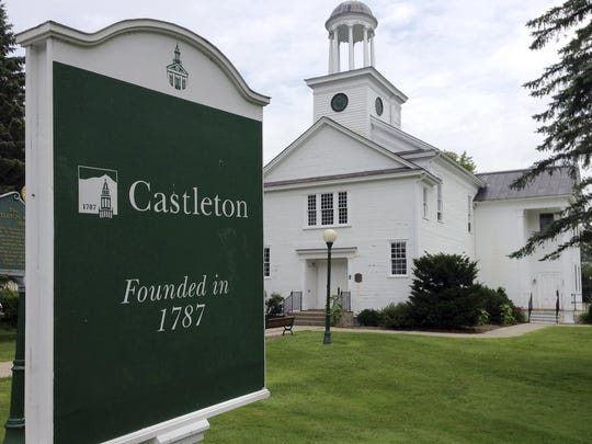 A sign notes the school's founding in 1787 on the campus of Castleton State College in Castleton on July 9, 2015. The college changed its name on July 23, 2015, to Castleton University to reflect its growth in graduate programs and to attract more out-of-state and foreign students.