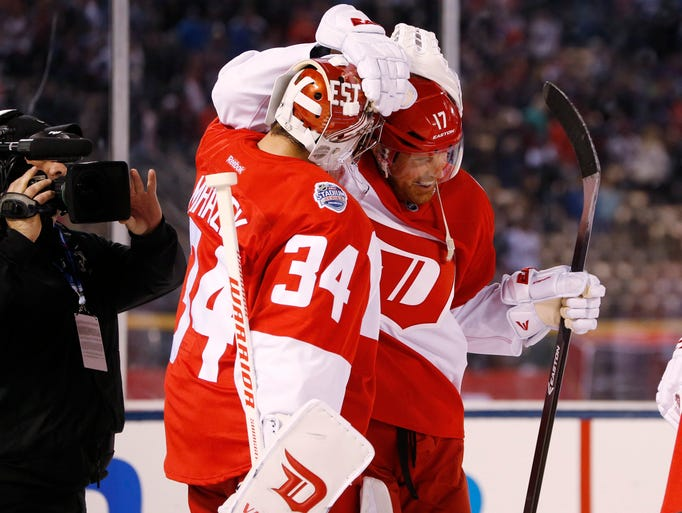 Detroit Red Wings goalie Petr Mrazek (34) celebrates