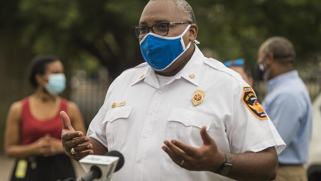 Augusta Fire Chief Chris James talks to reporters during the mask and hand sanitizer giveaway at the Salvation Army Thursday morning August 12, 2020 in Augusta, Ga.