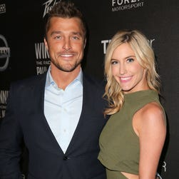 """Chris Soules and fiancee Whitney Bischoff of """"The Bachelor"""" have spit."""