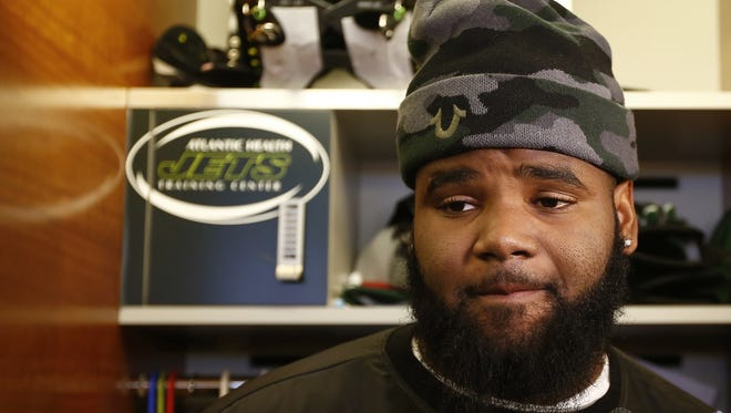 In this Jan. 4, 2016, file photo, New York Jets defensive tackle Sheldon Richardson talks to the media as the team clears out their lockers at the team's NFL football training facility, in Florham Park, N.J. Sheldon Richardson has been suspended by the NFL for the first game of the 2016 regular season for violating the league's personal conduct policy. Richardson will be eligible to return to the Jets' active roster on Sept. 12 following the team's Sept. 11 opener against Cincinnati. But he can participate in all preseason practices and games.