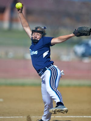 Great Falls High's Erin Hocker pitches in Thursday's softball game against Capital.