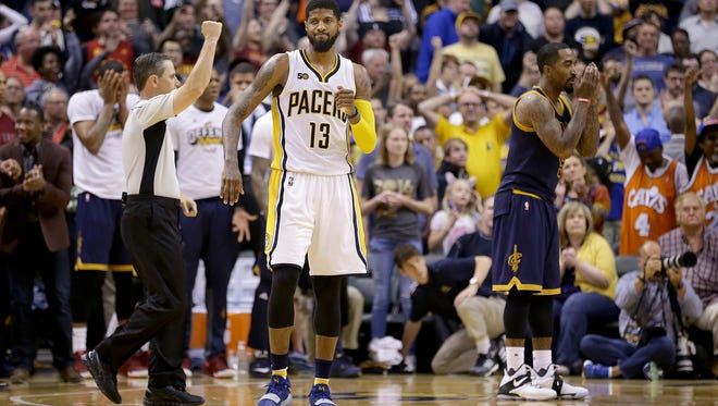 Indiana Pacers forward Paul George (13) reacts after missing a three-point shot that would have ties the game in the final seconds in the second half of their NBA playoff basketball game Sunday, April 23, 2017, afternoon at Bankers Life Fieldhouse. The Pacers lost to the Cavaliers 106-102.
