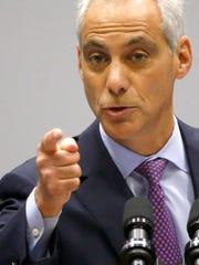 Chicago Mayor Rahm Emanuel delivers his new public