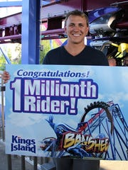 Grant Pederson of Lexington  became the 1 millionth rider on Kings Island's record-breaking Banshee roller coaster on July 10, less than three months after its April 18 opening.