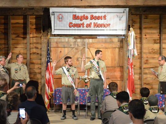 From left:Assistant Scoutmaster Jay Wieder, Assistant Scoutmaster J.D. D'Amico, Scoutmaster Bill Wallace, Derek Scott, Andrew Gallagher andAdvancement Chair Chris Kossak.