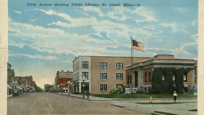 A 1930 postcard view of the 1902 beaux-arts Carnegie Library reveals its role as part of St. Cloud's downtown landscape. It is shown in a northward view of Fifth Avenue.