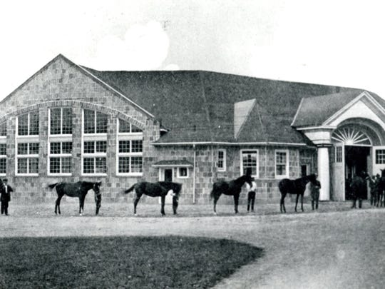 The stable building at Sun Briar Court with its oval design, about 1930.