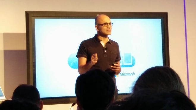 Microsoft CEO Satya Nadella speaks during an event where the company announced Office for the iPad.