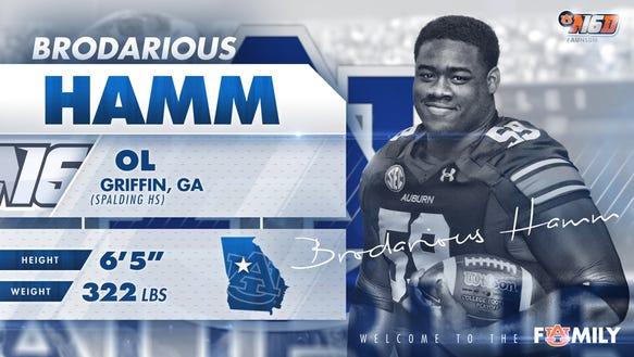 Auburn 2016 signee Brodarious Hamm has been diagnosed