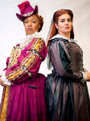 "Knoxville Opera Company's production of ""Mary Queen of Scots"" stars Catherine Daniel, left, as Elizabeth I, and Rochelle Bard, singing the role of Mary Stuart."
