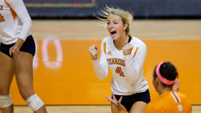 Setter Lexi Dempsey, a Palm Springs graduate, of Tennessee celebrates during the match between the Volunteers and Alabama on Oct. 5.