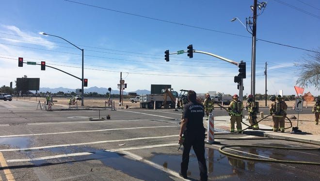 A construction crew broke a gas line at 55th Avenue and Bethany Home Road in Glendale on March 12, 2018.