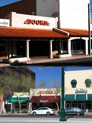 Back in the late 1990's Mesa initiated a demonstration project whereby the 1984 colonnade was removed across four storefronts, restoring facades closer to their historic appearances. Before and after is seen in this composite. A similar proposal is underway throughout the downtown business district.