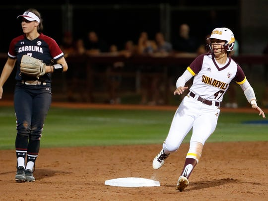ASU's Morgan Howe (47) rounds second against South