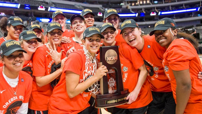 Oregon State celebrates its first-ever trip to the Final Four.
