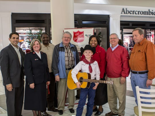 From left to right: Scott Conger, Jayne Brewster, Larry Mercer, Conrad Delaney, Zane Bolton, Tierra Thaxton, Ben McCleary and Greg Flanagan at the Old Hickory Mall.