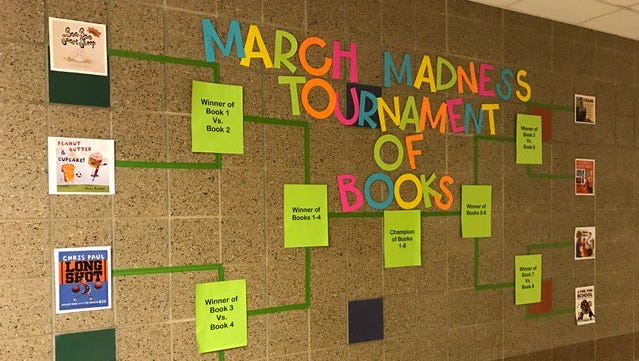 """Students at R.F. Pettigrew are participating in a March Madness """"Tournament of Books."""""""