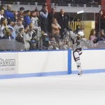 Fordham Prep goalie Christopher Hagstrom deflects a second-period shot during a 2-2 tie with Iona Prep.