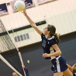 Shalom's Haley Bricker (16) pushes the ball over the net during a girls MDCC volleyball championship game on Saturday, Oct. 22, 2016. Heritage Academy defeated Shalom Christian Academy 3-0.