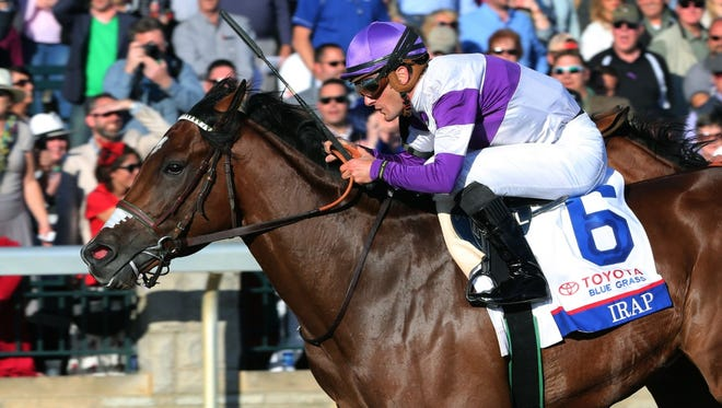 Irap and jockey Julien Leparoux win Saturday's Toyota Blue Grass Stakes at Keeneland.