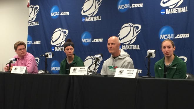 From right, University of Wisconsin-Green Bay senior guard Megan Lukan, coach Kevin Borseth and sophomore Tesha Buck answer questions during an NCAA women's basketball tournament press conference at the University of Maryland's Xfinity Center in College Park on Friday, March 20. The Phoenix plays unbeaten Princeton in the first round of the tournament at 10 a.m. Saturday.