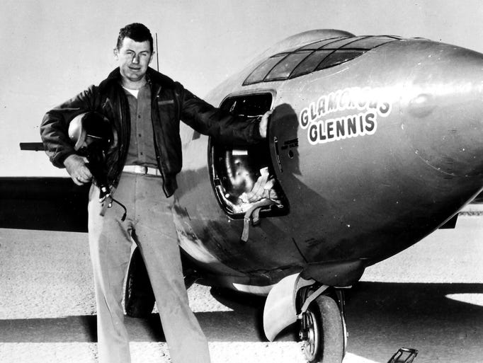 Capt. Charles E. Yeager next to the Air Force's Bell-built