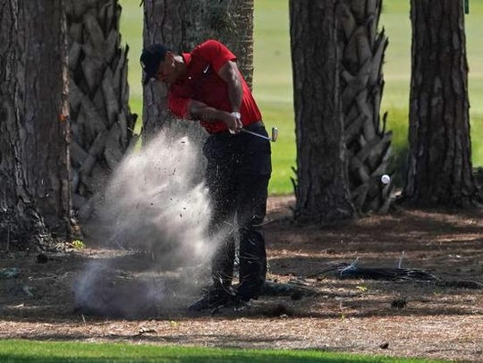 Tiger Woods plays his shot from the brush on the 2nd
