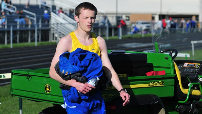 Austin Wampler, a distance runner at Lincoln High School, during the Northeastern Knight Invitational Friday, April 27, 2018 at Northeastern High School in Fountain City.